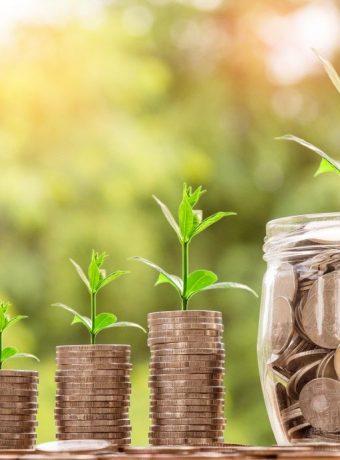 discover financial abundance. Coins in a jar