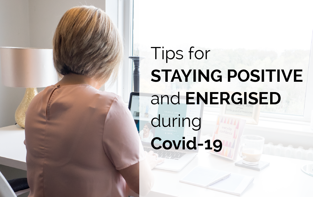 tips for staying positive during covid-19. Image of Jennie at the desk.
